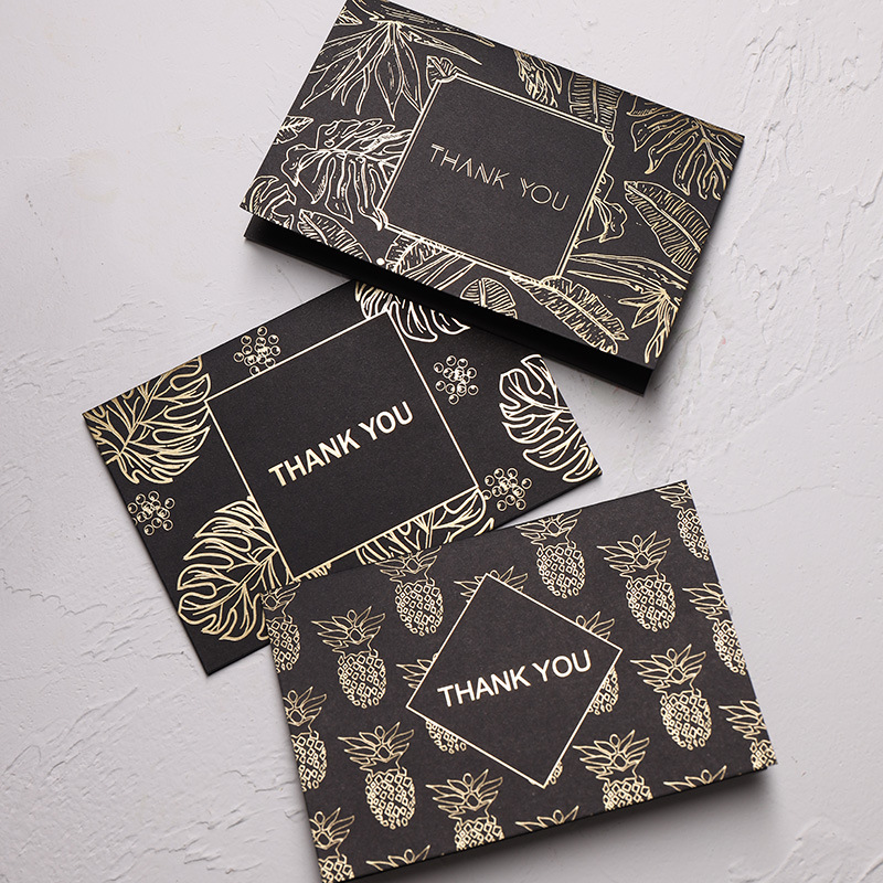10pcs/lot Bronzing Greeting Card Black Business Creative Foil Thank You Card With Envelopes Birthday Christmas Card Stationery