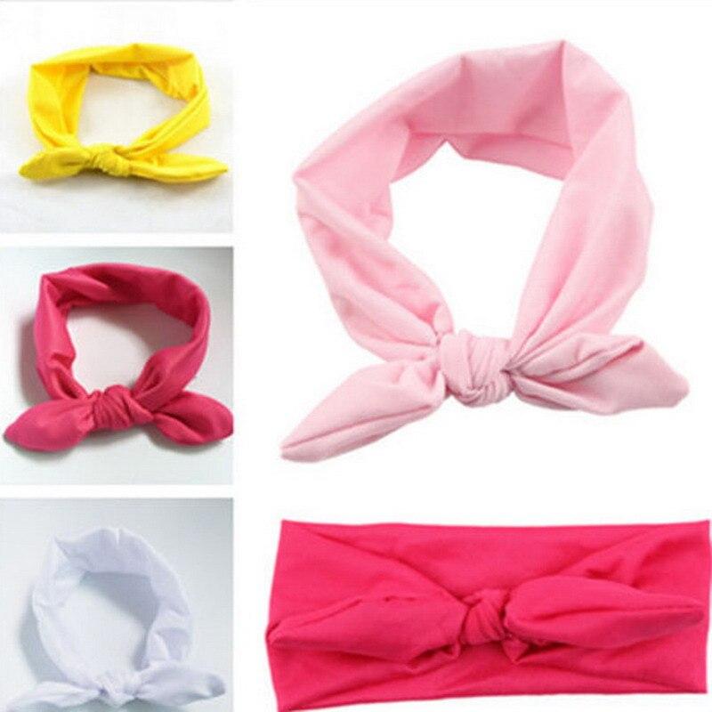 TINSAI Cute Rabbit Ears Elastic Bowknot Hairbands Girls Hair Accessories Children Fashion Baby Headwear Solid Stretch Ornaments