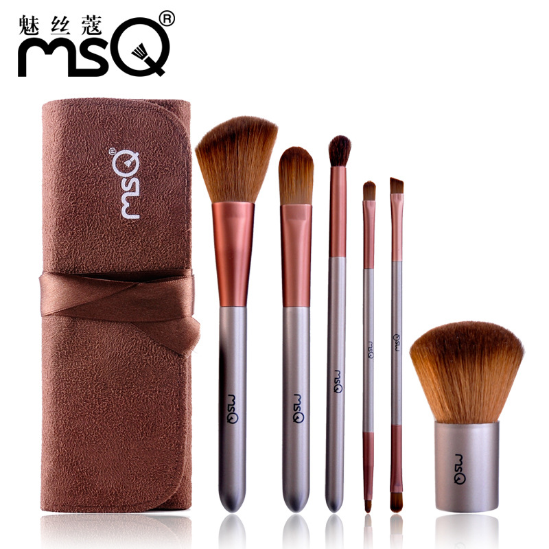 MSQ Professional Makeup Brushes With Cosmetic Bag 6pcs Synthetic Hair Electronic DIY Kit Eye Shadow Eyeliner Nose Smudge 7pcs makeup brushes professional fashion mermaid makeup brush synthetic hair eyebrow eyeliner blush cosmetic