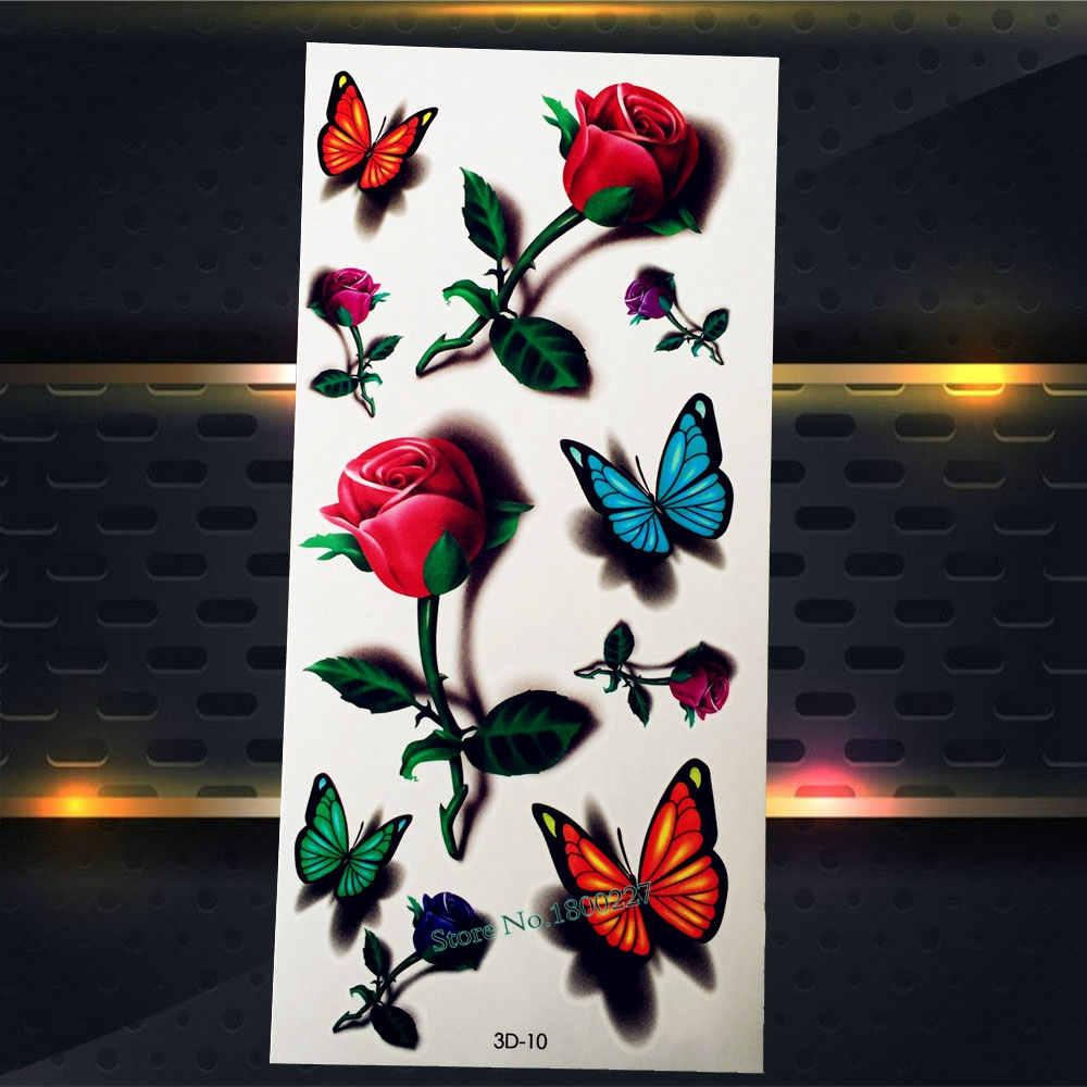 1PC Women Sexy Makeup Tips Temporary Tattoo Body ARm Shoulder Tatoo P3D-10 BUtterfly Dating Tattoo Stickers Summer Style Designs