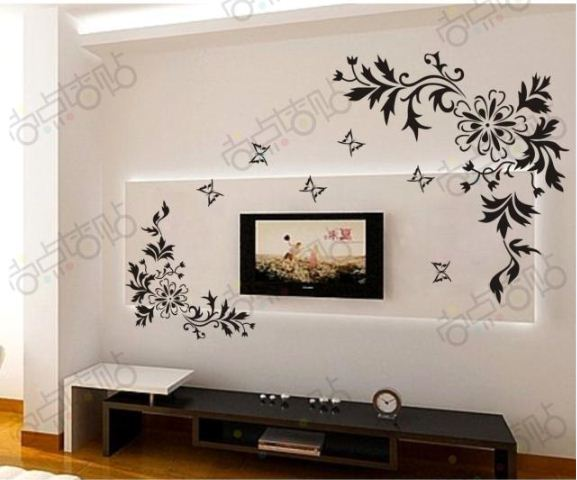 Bianhua Vine Flower Butterfly Removable Wall Decals Vinyl