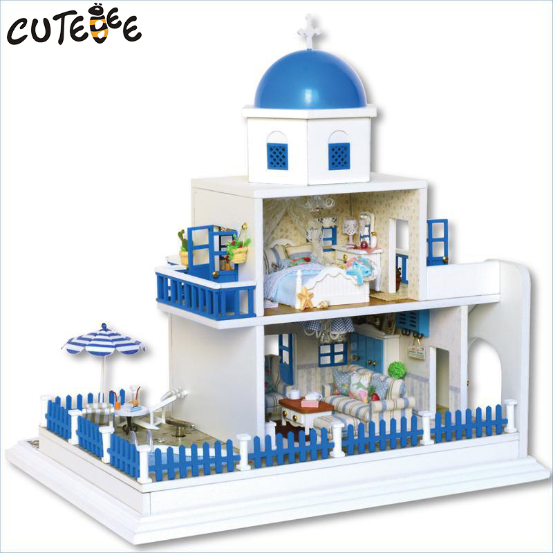 CUTEBEE Doll House Miniature DIY Dollhouse With Furnitures Wooden House  Toys For Children Birthday Gift  A-026 cutebee doll house miniature diy dollhouse with furnitures wooden house toys for children birthday gift hordic holiday a030