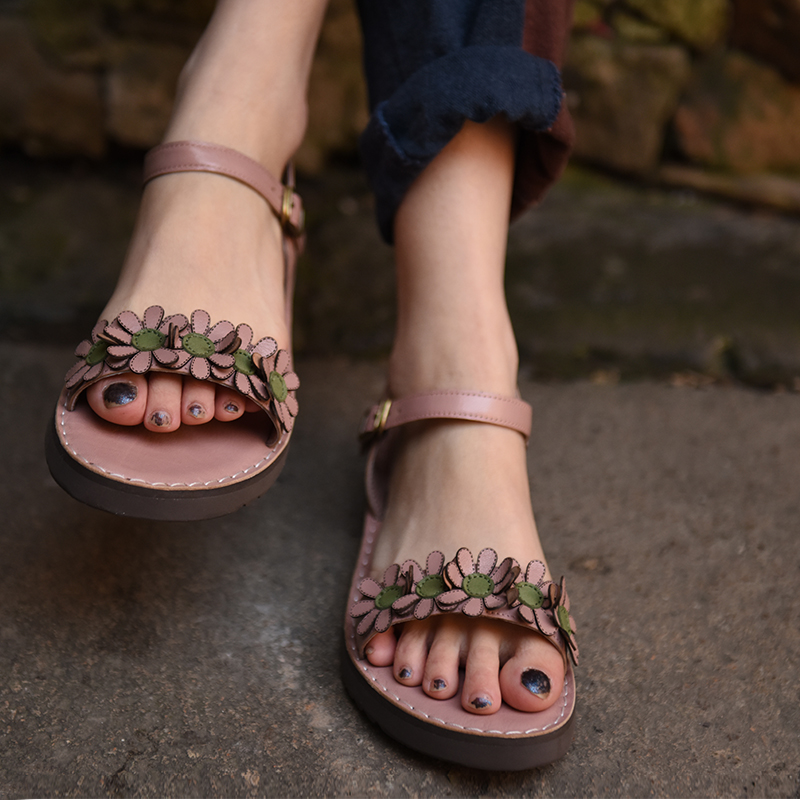 Artmu Original New Female Flower Wweet Genuine Leather Sandals Comfortable Handmade Flat Buckle Women Sandals 3307-8 artmu original retro ruffles women sandals genuine leather comfortable soft flat handmade sandals 902 10
