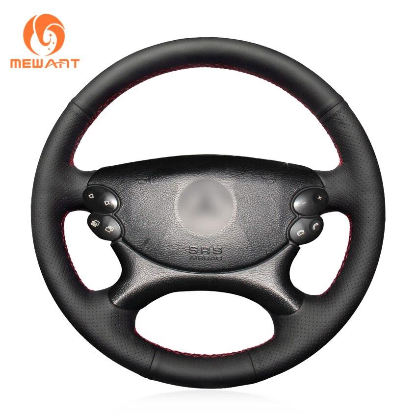 MEWANT Black Genuine Leather Car Steering Wheel Cover for Mercedes Benz E Class W211 E230 E280