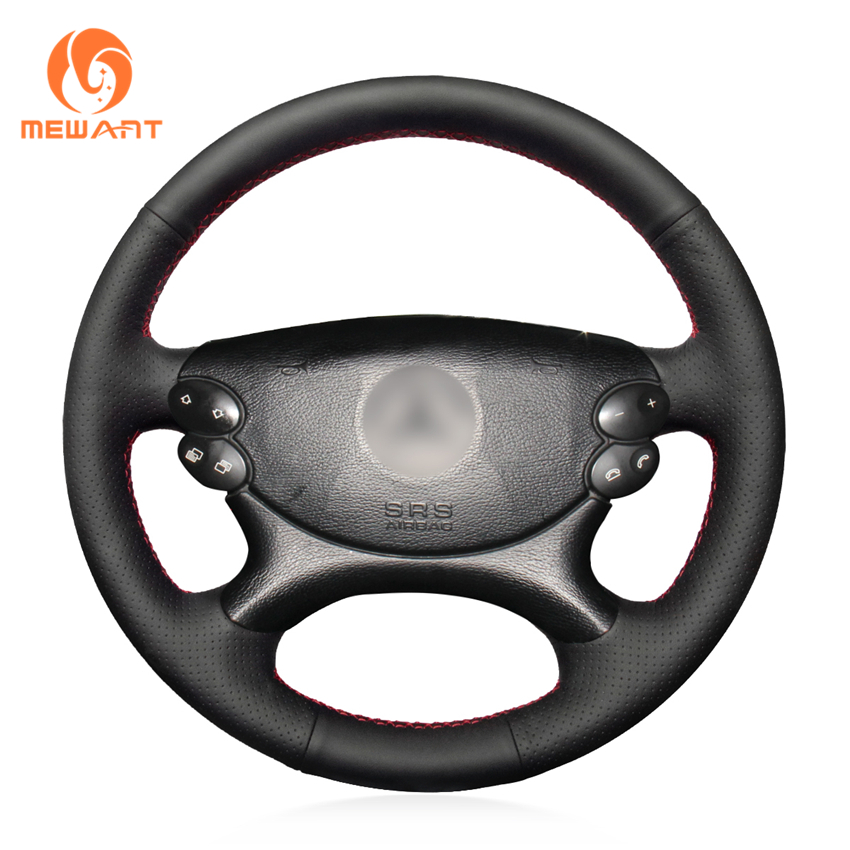 MEWANT Black Genuine Leather Car Steering Wheel Cover for Mercedes Benz E-Class W211 E230 E280 E350 CLS-Class CLS350 CLS500 benefit they re real duo shadow blender двойные тени для век provocative plum провакационно сливовый