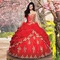 Vestidos debutantes de 15 Red Ball Vestido Vestidos Quinceanera com Ouro Lace Appliqued Querida Puffy Princesa Vestidos de Baile