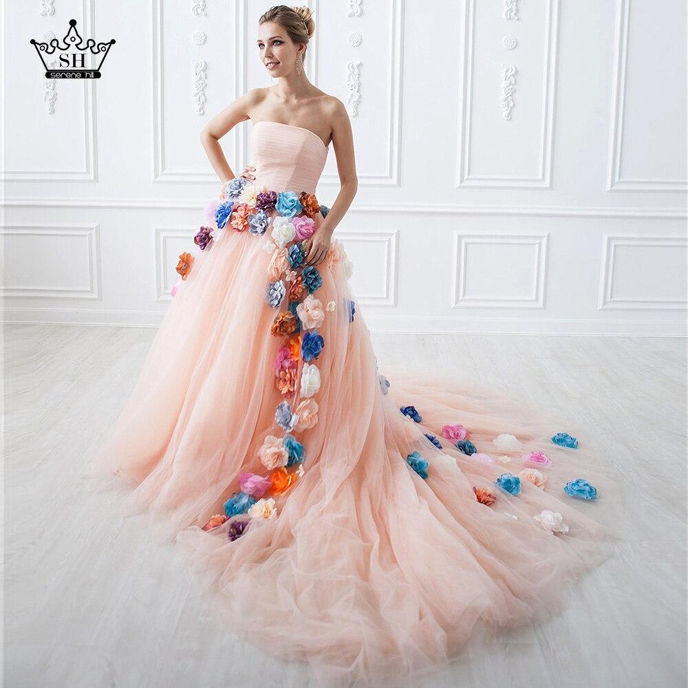 Real Flower Lont Train Wedding Dress Bridal Gown Custom