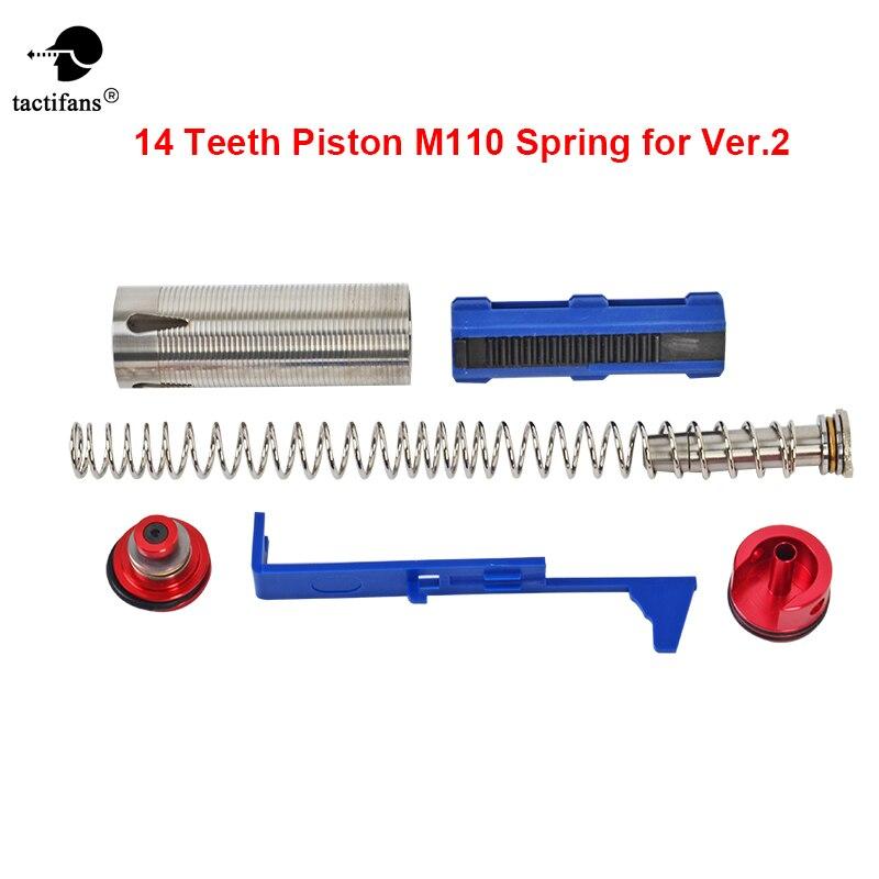 Tune Up Couple 7 ensembles pour M4 Airsoft AEG 140 Printemps/14 Dents Piston/Cylindre/Culasse /Tête de Piston/Printemps Guide/Poussoir Plaque