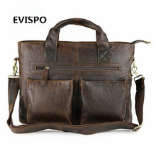 2017 Crazy Horse Genuine Leather Men Bag Men Messenger Bags Vintage Business Briefcases Laptop Bags Men's Leather Laptop Bag MVA