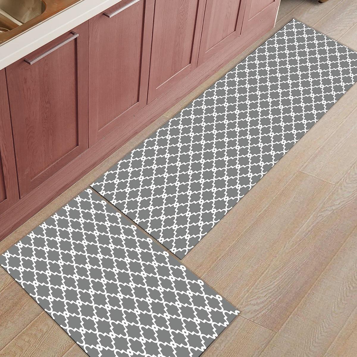 Treillis géométrique gris et blanc 2 pièces tapis de cuisine paillassons pour entrée salle de bains accessoires Set chaussures de démarrage grattoir plancher
