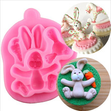 3D Rabbit Easter Bunny Silicone Mold Carrot Cupcake Topper Fondant Cake Decorating Tools Candy Chocolate Gumpaste Baking Mould 3d carrot rabbit cake mould easter bunny silicone mold cupcake topper fondant cake decorating tools