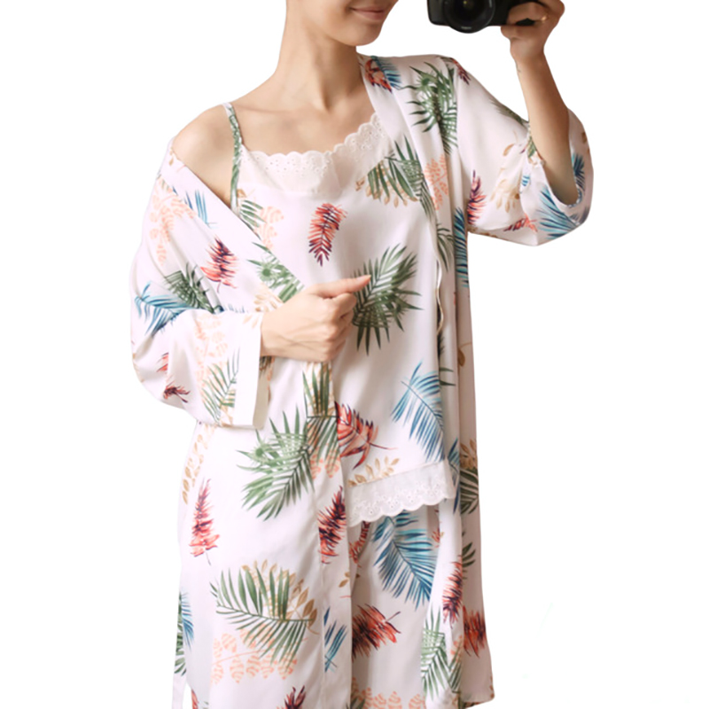 yomrzl A546 New arrival daily spring and autumn women's   pajama     set   3 piece home style sleep   set