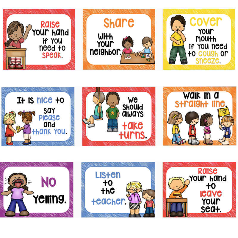 15Pcs/Set Classroom Rules Kindergarten Wall Decoration