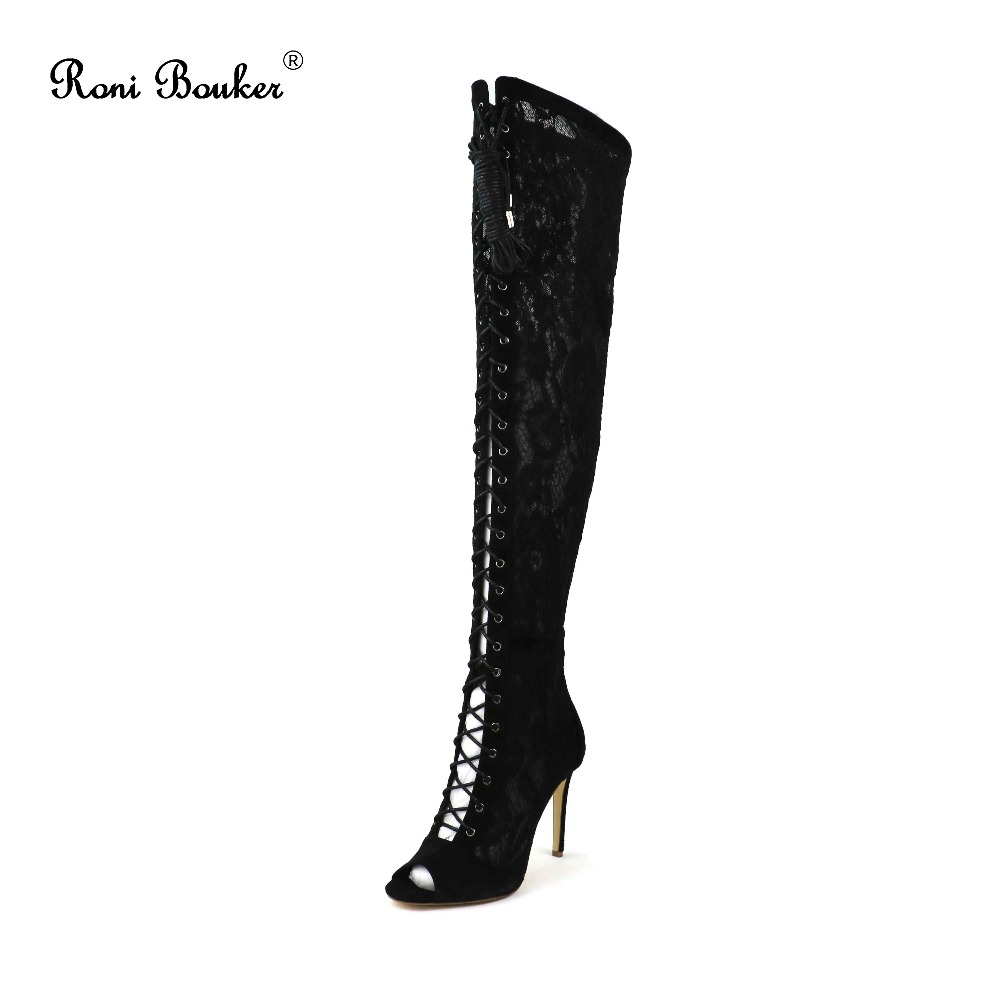 Roni Bouker Brand New Women Sexy Lace-up Shoes Comfort High Heels Autumn Winter Ladies Fashion Over the Knee Thigh High Boots roni bouker women zipper boots autumn winter snake ankle booties high heels fashion pointed toe ladies sexy shoes 2018 big size