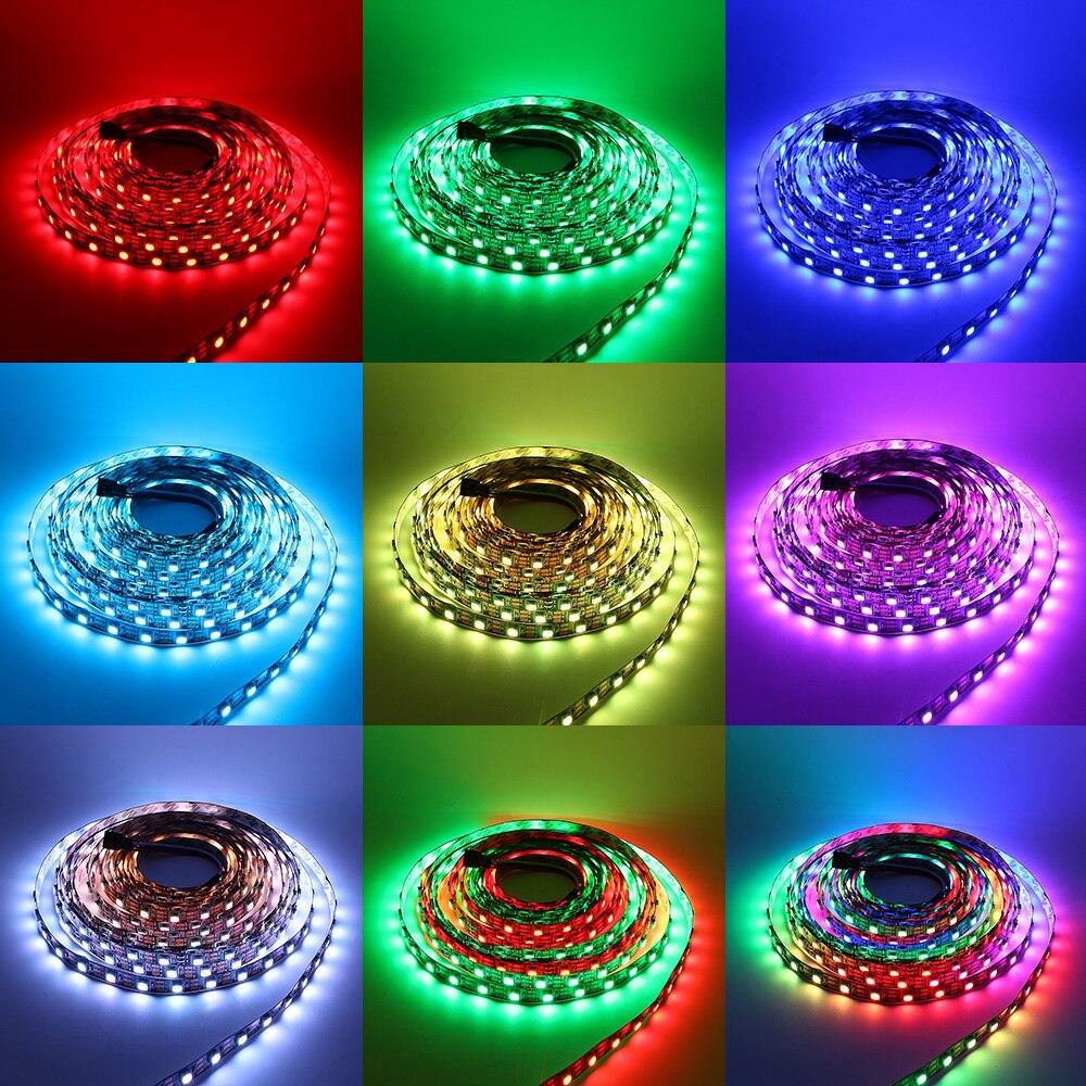 5 M Noir PCB 60led/m WS2812 2812 IC 5050 Pas Étanche RGB LED Light Strip Rêve Couleur DC 5 V RVB Flexible LED Bande lumière