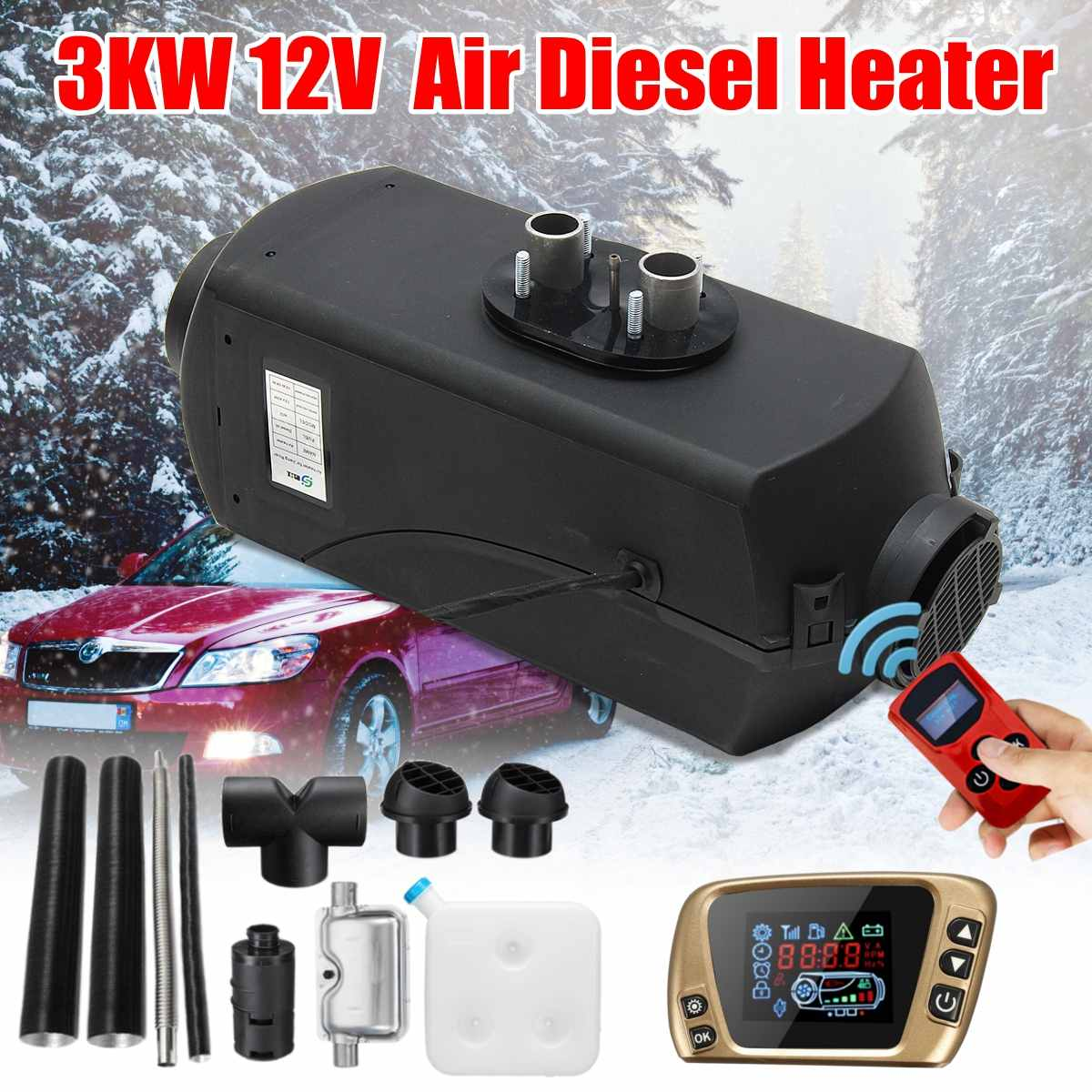 12V 3KW 3000W Air Diesel Heater LCD Thermostat For Car Trucks Boat Bus Trailer