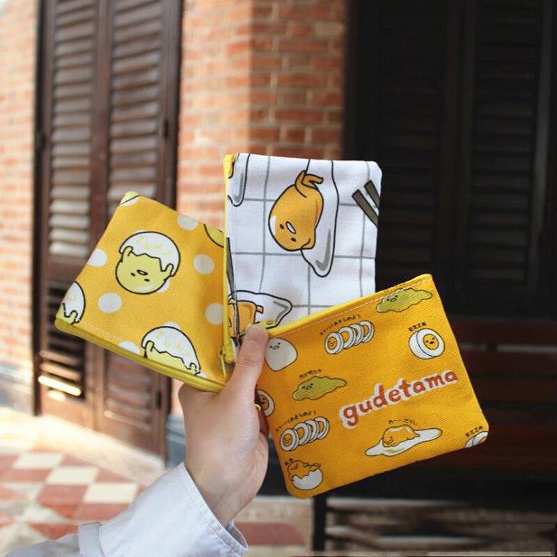 1 Pcs Cute Japanese Anime Lazy Egg Gudetama Canvas Coin Bag Change Purse Women Wallet Coin Zipper Bag Stationery Card Holders
