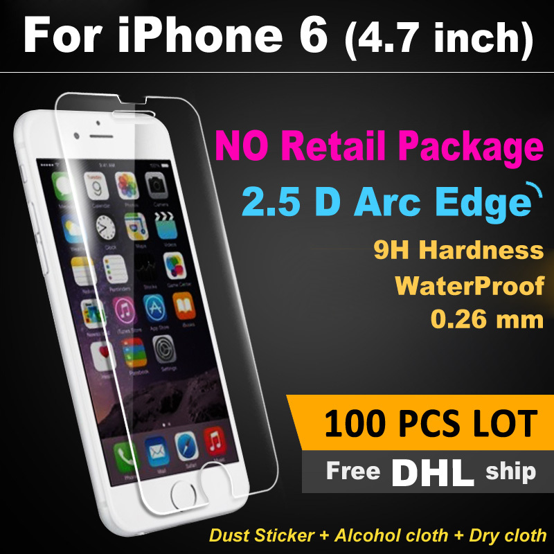 FREE DHL X 100 PCS LOT Ultra Thin HD 2.5D for iPhone 6 Tempered Glass Screen Protector 0.3mm Clear Front Film No Retail Package