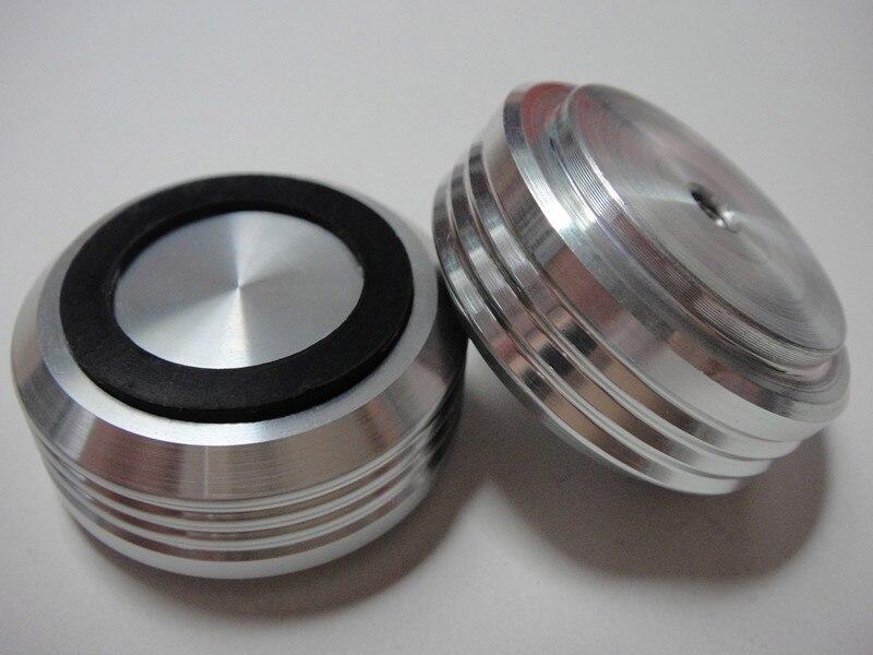4 Stks 30*13mm Zilver/zwart Volledige Aluminium Audio Amp Speaker Voeten Schroefdraad Spikes Pc Machine Matten Pads Lage Prijs