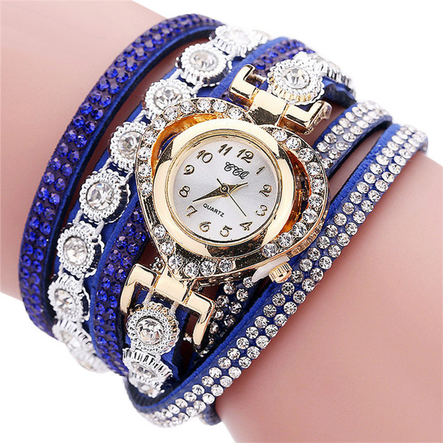 CCQ Women Watches Rhinestone Heart Quartz Wrist Watch Leather Band Female Ladies