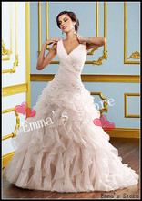 MORI-Free Shipping Exquisite Popular 2013 Hot Cheap Sparkle Intricate Mermaid V-Neck Beaded Organza Floor Length Wedding Dresses