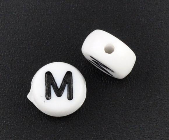 Doreenbeadшт. S акриловые разделительные бусины плоские круглые белые буквы узор около 7 мм (2/8 «) Диаметр, отверстие: мм около 1 мм, 60 шт. Новый