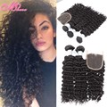 Violet 7A Peruvian Curly Wavy with Closure Peruvian Deep Curl Virgin Hair with Closure Peruvian Deep Wave with Closure 4 Bundles
