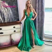 Green Evening Dresses Long 2019 Satin Beaded Belt Deep V-Neck Evening Party Dresses Sexy Side Slit Robe De Soiree Formal Dress army green deep v neck long sleeves slit hem casual dress