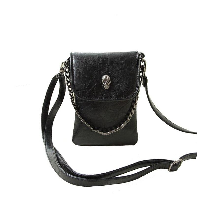 Laamei Fashion Women Handbags Skull Deco Punk Lady Shoulder Bag Fashion PU Leather Crossbody Bags For Women Chain bolsos mujer все цены