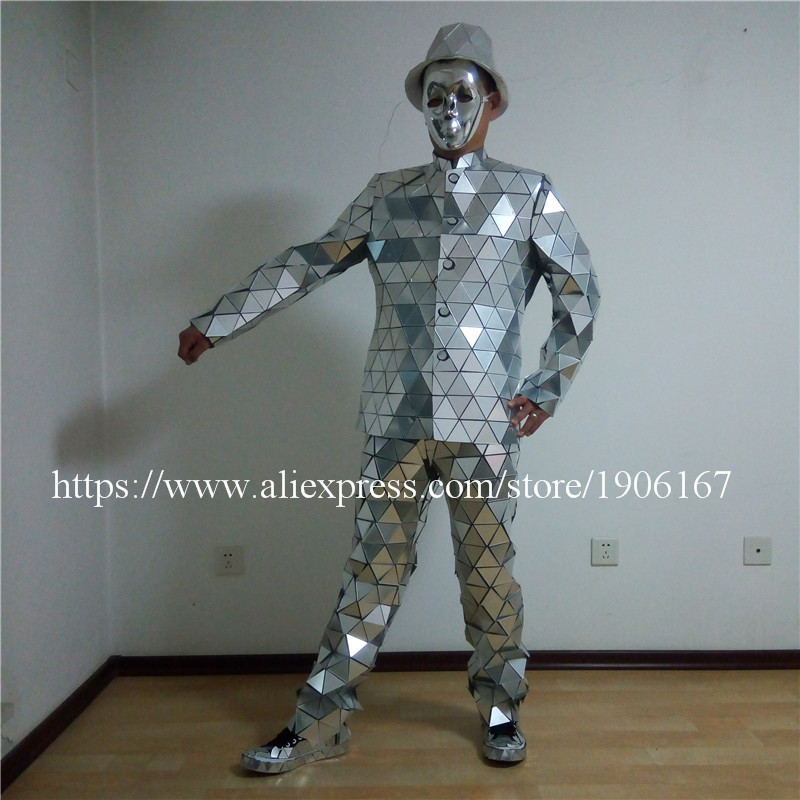 Catwalk Shows Men Silver Color Stage Ballrooom Costume Mirror Man Clothing Party Christmas Performance DJ Singer Clothes Suit06