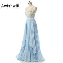 Cheap Long Evening Dress 2017 Elegant Sexy See Through Back Beadings Pleated Chiffon Wedding Party Formal Dresses For Women