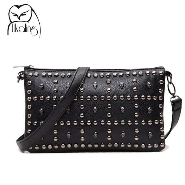 Rivet Soft Women Messenger Bags PU Leather Bag Long Strap Crossbody Clutch Handbag Designer High Quality Dollar Price