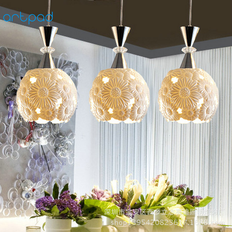 Artpad Modern Design 1 or 3heads Ceiling Lamp AC110V-220V Hallway Hotel Living Room Dining Ceramic Lamp For Indoor Lighting