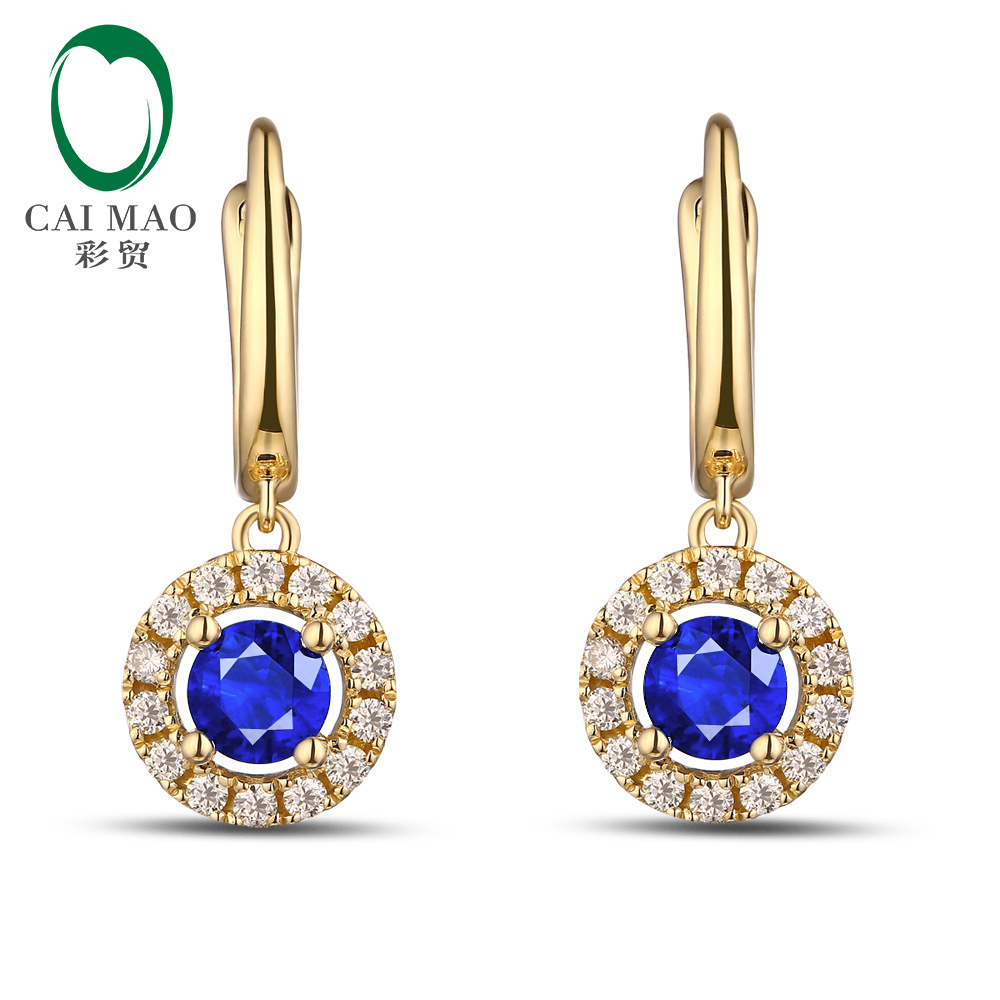 Unplated 14K Gold Natural 0.83ct Sapphires & 0.28ct Natural Diamonds Earrings Caimao Jewelry