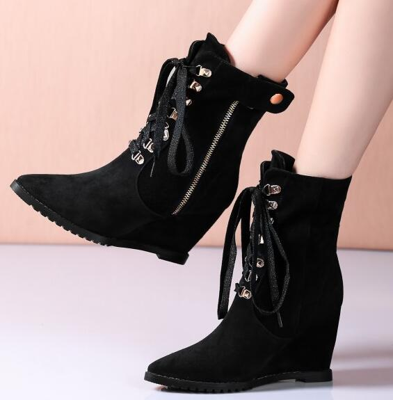 Women Winter Genuine Leather Wedges Lace Up Ankle Boots Lady Spring Autumn Pointed Toe Zipper Boots Plus Size 34-45 SXQ1006 free shipping women fashion winter shoes genuine leather ankle boots wedges female winter working boots plus size 34 41