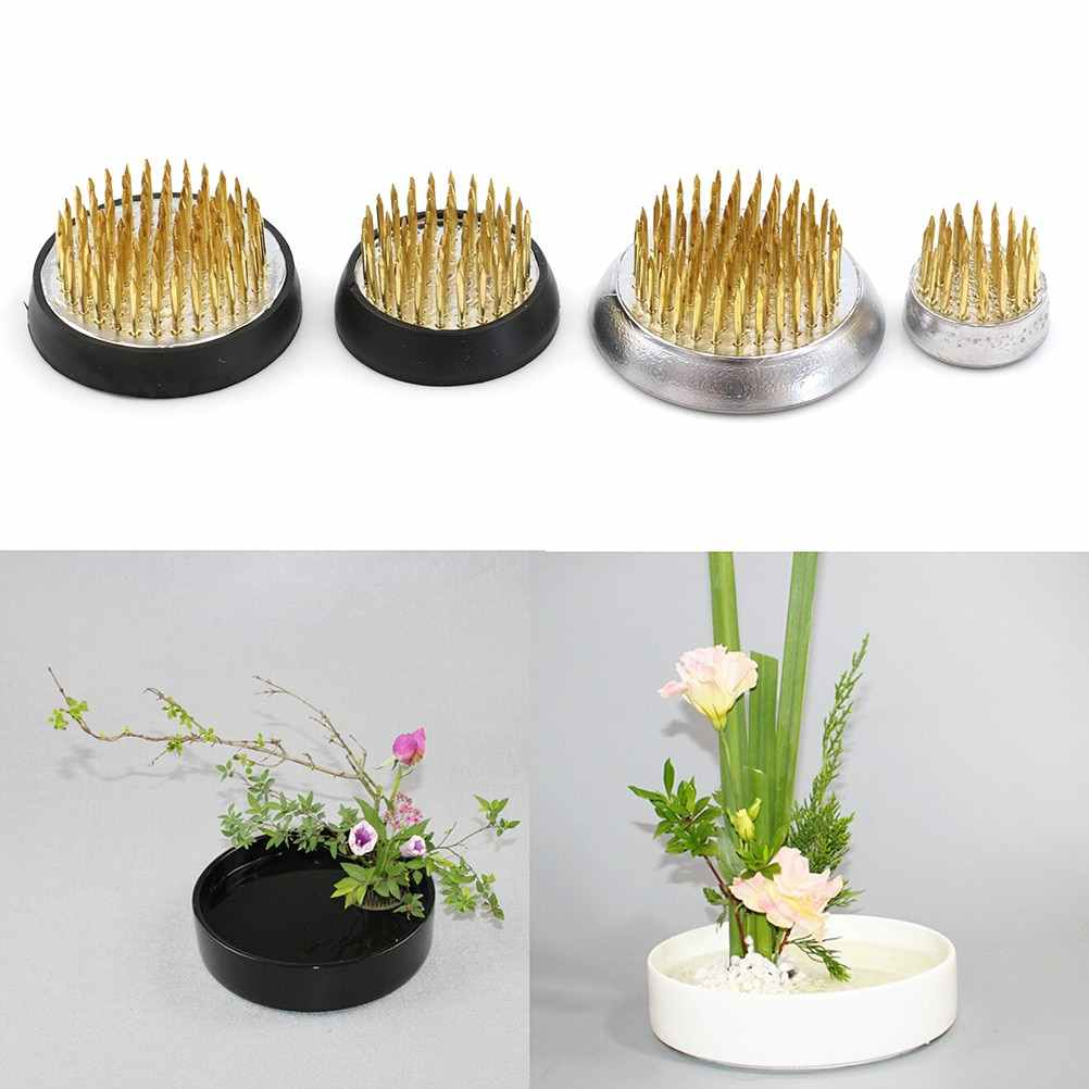 4sizes Round Japanese Flower Holder Frog Art Fixed Tools Flower Arrangement Insert Base Ishizaki Kenzans Pin Art Fixed Tools