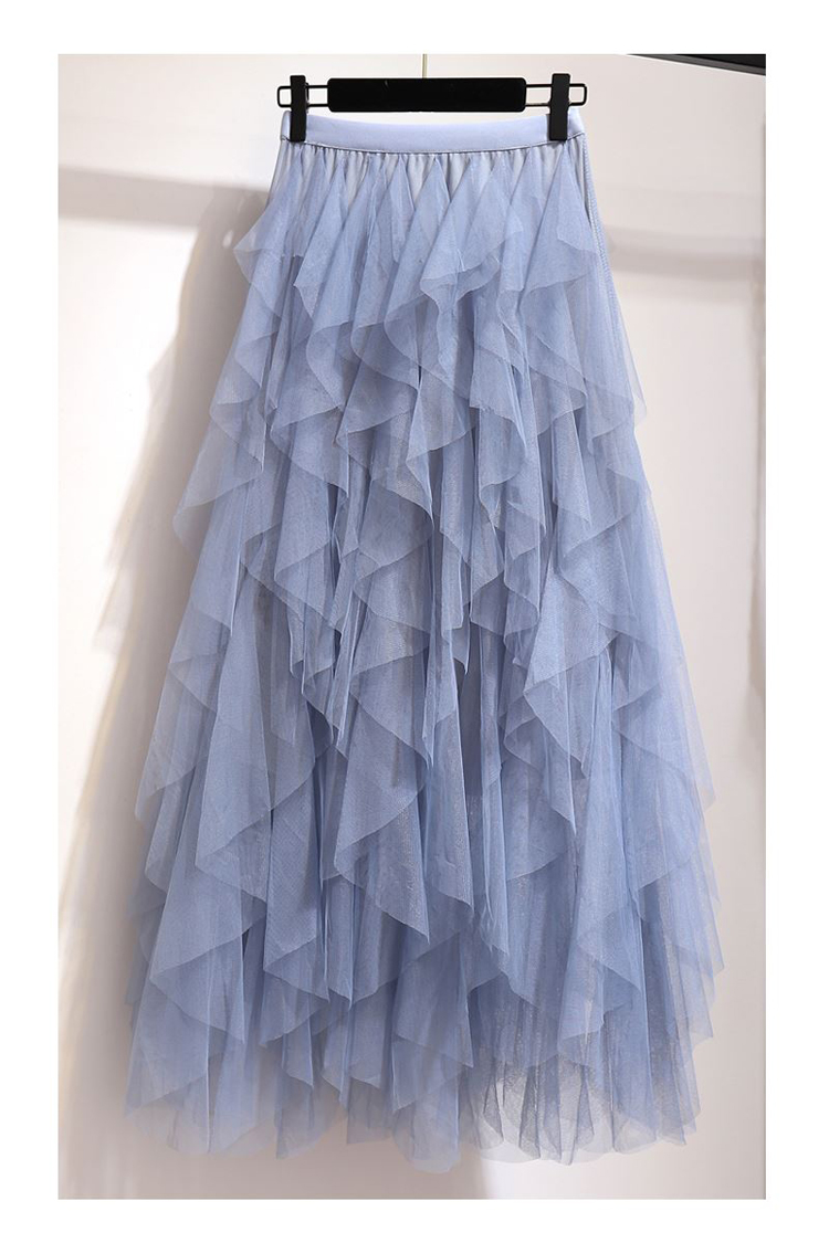 Women irregular Tulle Skirts Fashion Elastic High Waist Mesh Tutu Skirt Pleated Long Skirts Midi Skirt Saias Faldas Jupe Femmle 56