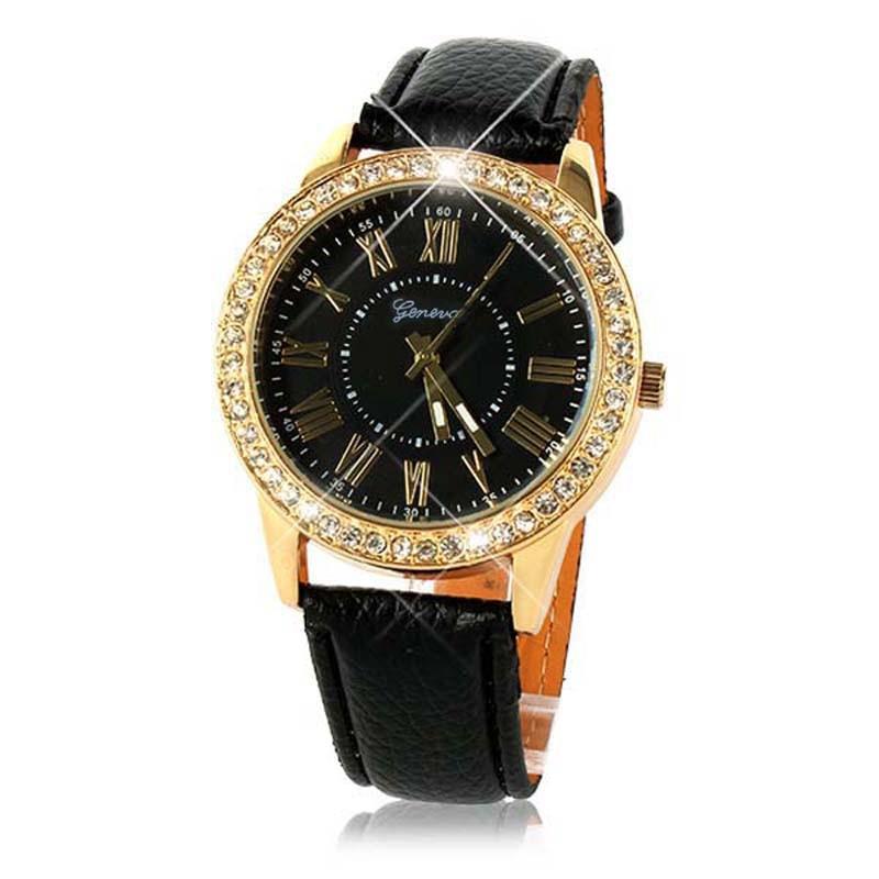 100% QualitäT Uhren Brandneue Luxus-uhr Bling Gold Kristall Frauen Uhr Roman Numberals Relojes Mujer Pu Lederband Quarz-armbanduhr