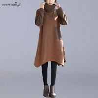 Wenaiyi 2018 Fall Winter Fashion Simple Plus Size Women Dress Irregular Hem Patchwork Long Sleeve High Collar Warm Dresses E063
