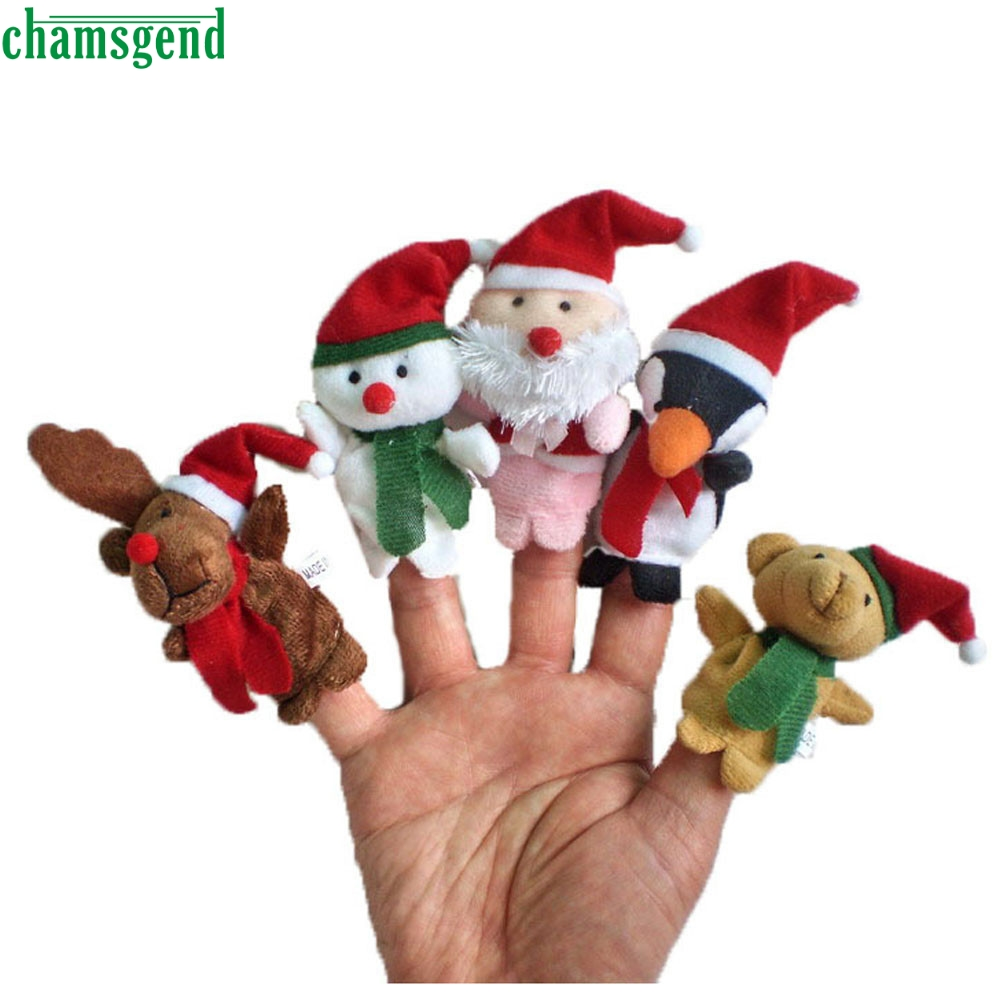 HOT 5pc Story Time Christmas Santa Claus and Friends Finger Puppets Toy A8311