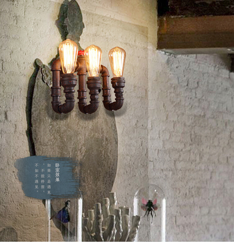 American Retro Style Wrought Iron Three-burner Creative Water Pipe Wall Lamp Cafe Light Bars Light Corridor Light Free Shipping american countryside industrial vintage loft wrought iron net water pipe wall lamp cafe bars balcony retro light free shipping