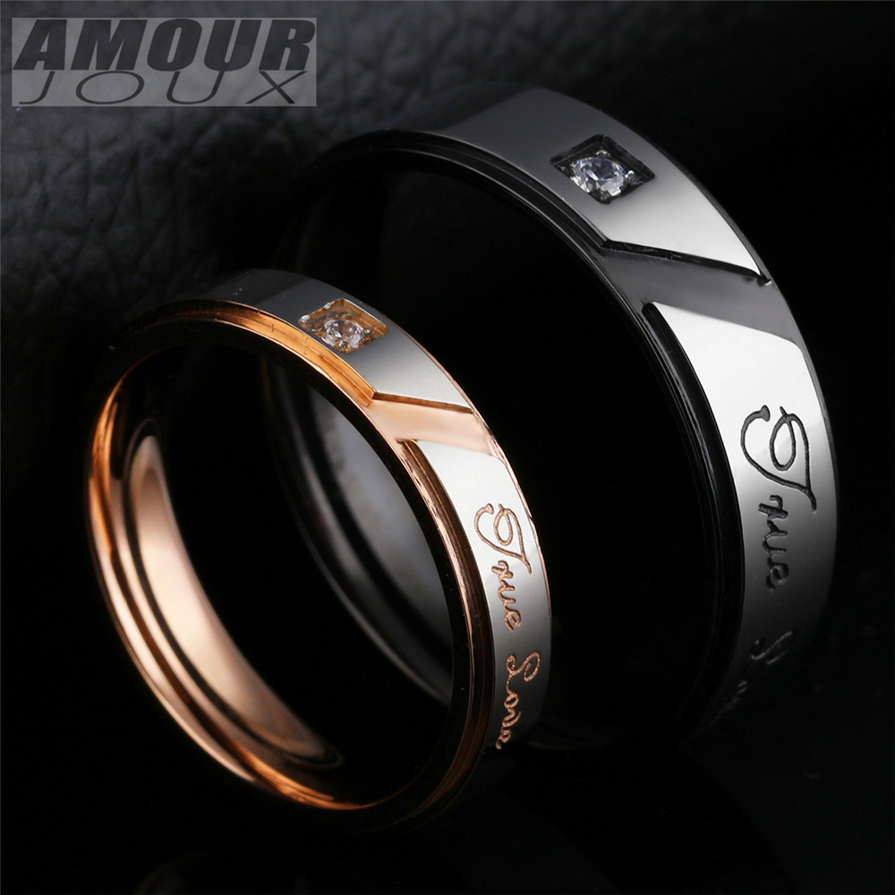 Black True Love L316l Stainless Steel Wedding Rings  With Clear Zircon For Men Women Fashion Lovers' Ring