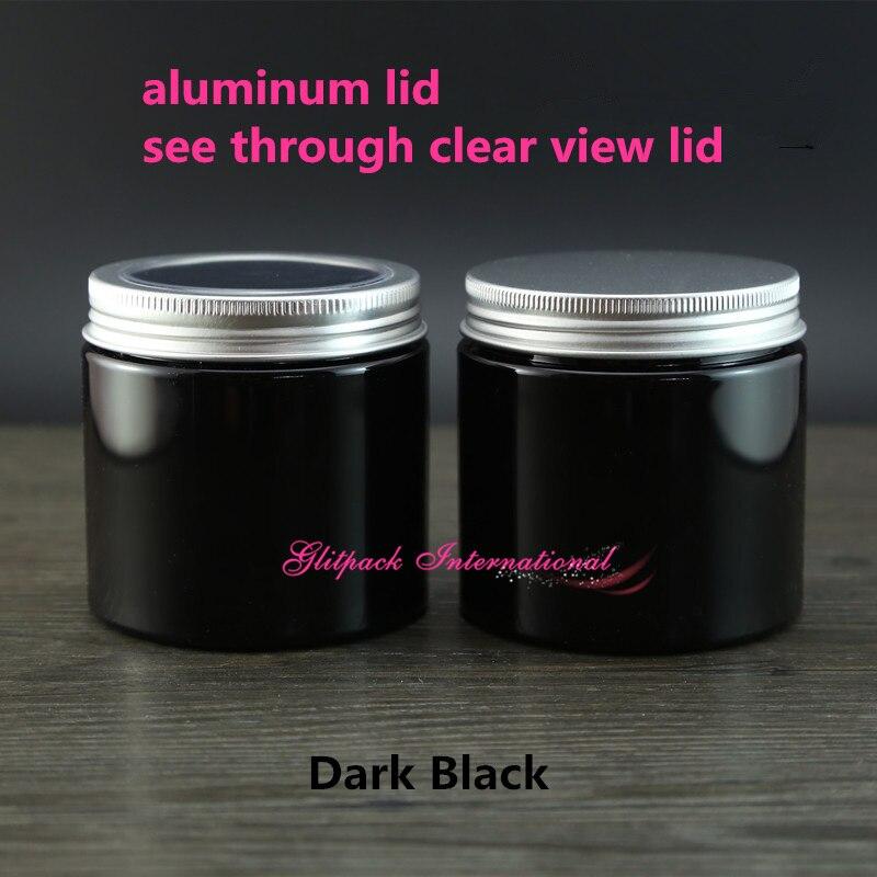 №30 unids/lote color negro ventana superior 200g tarro plástico ...