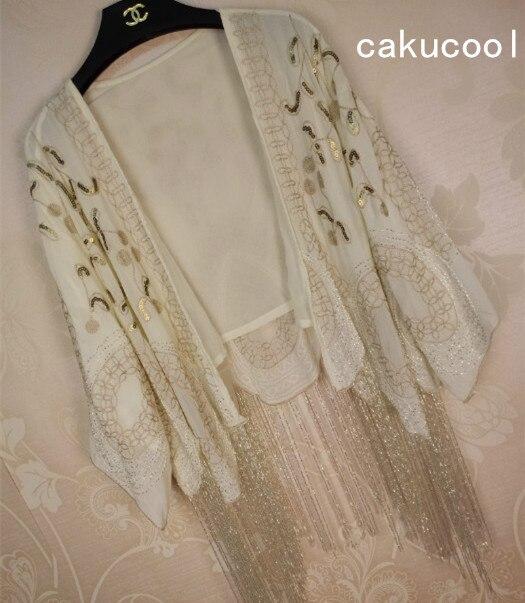 Cakucool femmes paillettes mousseline de soie vestes Floral embroïde perles glands Cappa court soleil protection survêtement bohème montre de sport