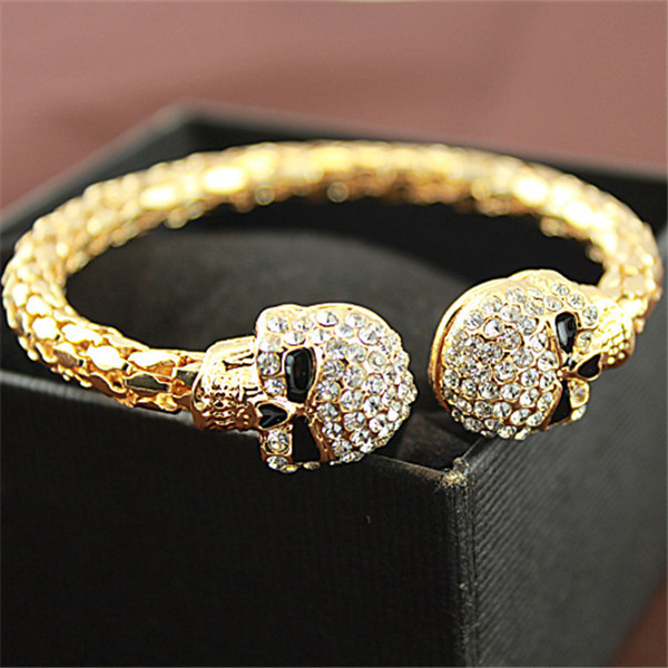 Vintage Gold Color Bangle Jewelry Skull With Rhinestone Skeleton Bangles Bracelets Inflated Cuff Por