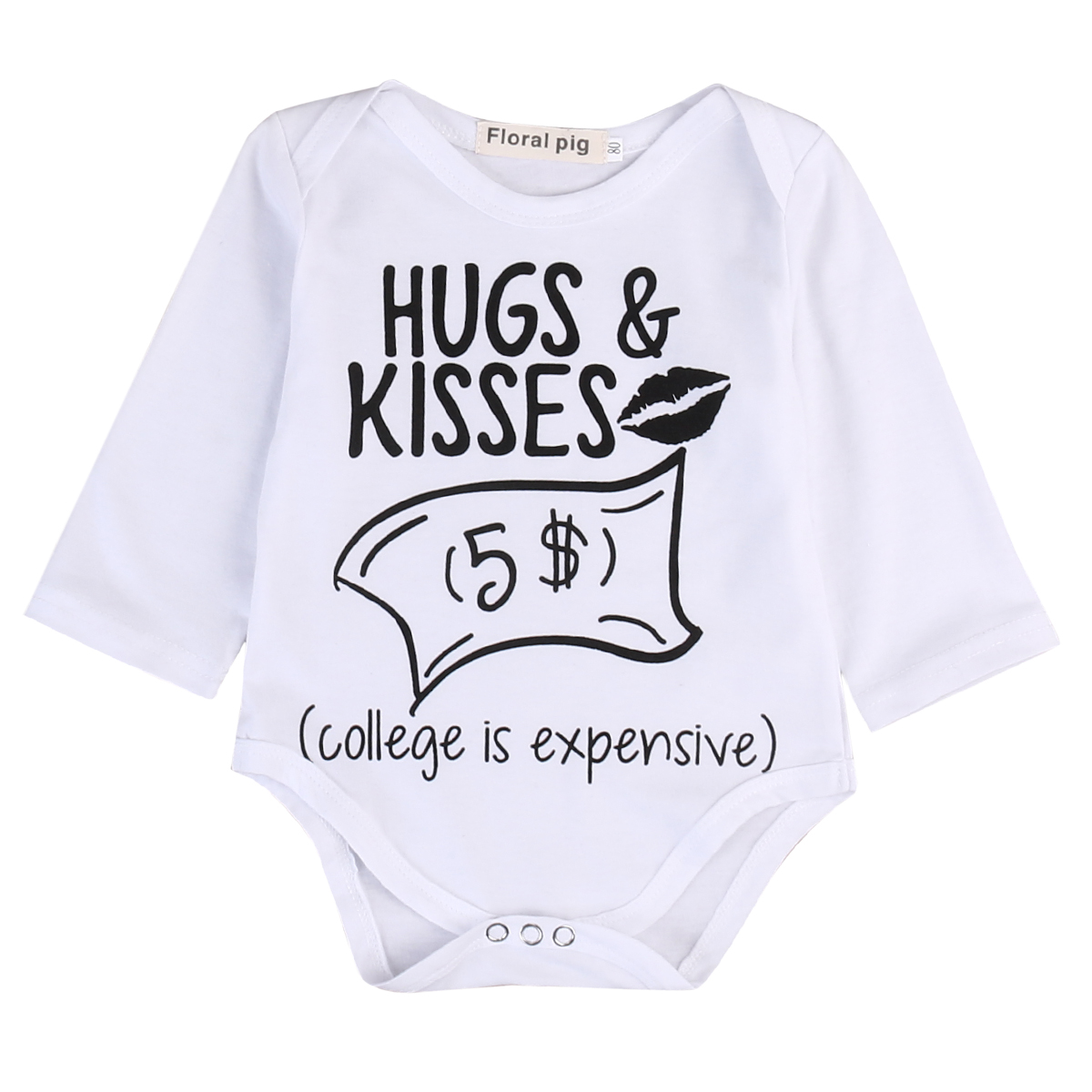 2017 New Style Newborn Baby Boy Girl Clothes Hugs Kisses Bodysuit Jumpsuit Long Sleeves Baby Clothing Outfits Set Clothes