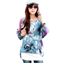 FGirl Women's t Shirt Crop Top Purple Ink Painting Floral Print Chiffon T-shirts for Women FG30543