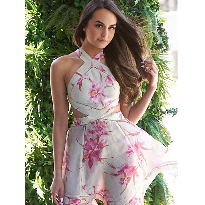 Resort 2019 ready to wear Corsage Halter dress orchid print silk linen dress low waist open back strap bohemian