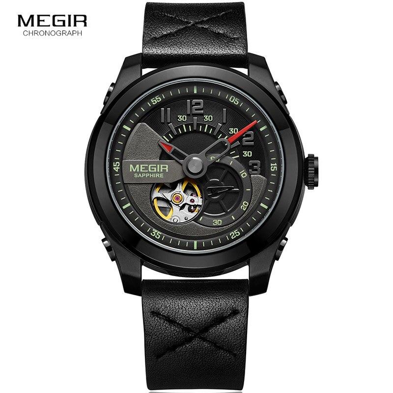 Männer Hand Wind Mechanische Handgelenk Uhren Lederband Armee Sport Uhr Casual Skeleton Uhr Relogios Masculino 62050G BK 1-in Mechanische Uhren aus Uhren bei  Gruppe 2