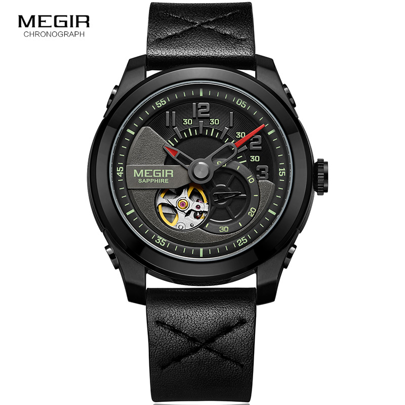 Men's Hand Wind Mechanical Wrist Watches Leather Strap Army Sports Watch Casual Skeleton Clock Relogios Masculino 62050G-BK-1
